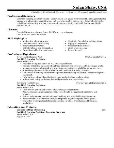 Resume Template For Nursing Assistant by Sle Nursing Aide Resume Aide Resume
