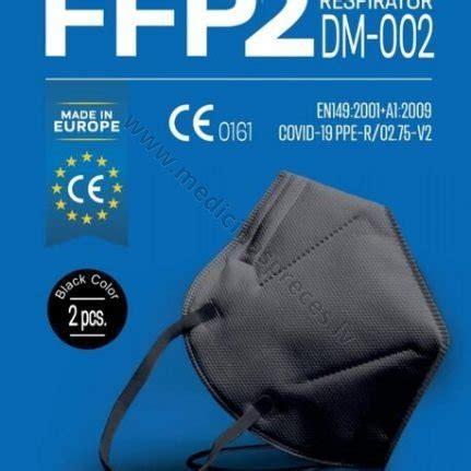 Maska respirators bez vārsta, filtrācijas pakāpe FFP2, melnā krāsā. Iepakojumā 2 maskas ...