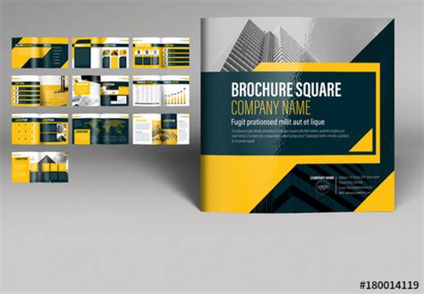 yellow  gray square brochure layout buy  stock