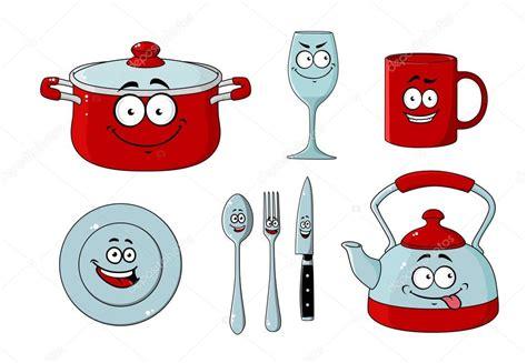 dessin animé de cuisine dessin animé ensemble de vaisselle et ustensiles de