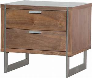 Two Drawer Walnut Retro Bedside Table Bedside tables