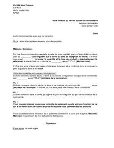 modèle lettre d intention lettre d acceptation de devis pour des produits mod 232 le