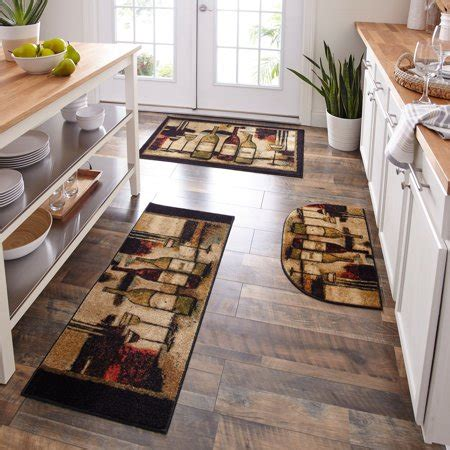 mohawk home wine themed  slip  piece kitchen rug set