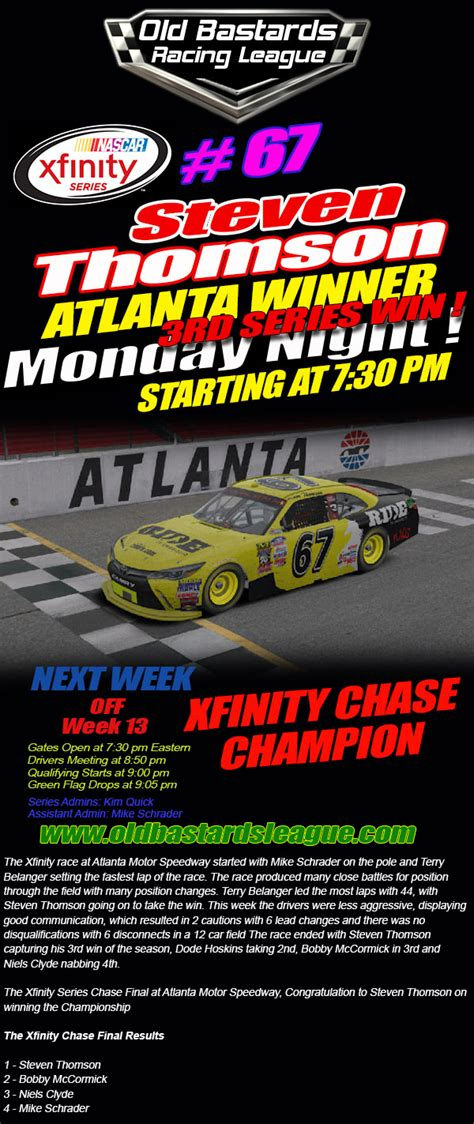 obrl  xfinity series atlanta winner steven thomson