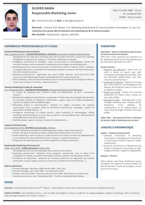 modele cv cadre commercial cv olivier dania responsable marketing junior