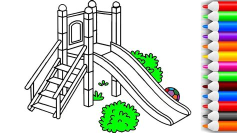 color slide how to draw and color slide playground coloring pages for