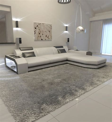 modern l shaped sofa modern l shaped sofa prato with led lights leathersofa