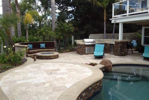 pool spa backyard remodel baja shelf paving firepit