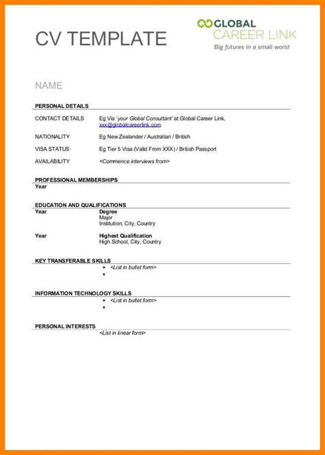 blank cv format free 28 images 40 blank resume