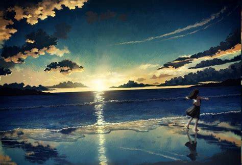 Anime Sunset Wallpaper Hd - sea sunset anime landscape anime