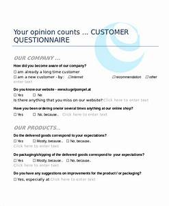 Questionnaire template word 9 free word document for New customer questionnaire template