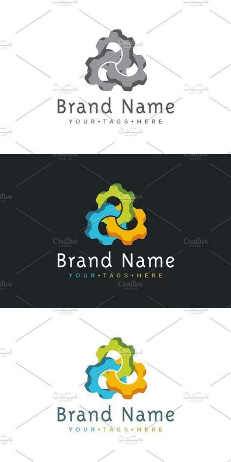 interlaced cogwheels logo logo design business card
