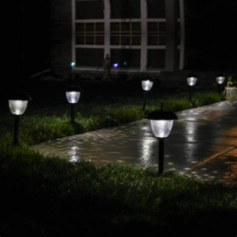 paradise set of 8 glass high output led solar path lights
