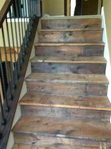 Stair Stair Design Idea With Barnwood Treads And Riser