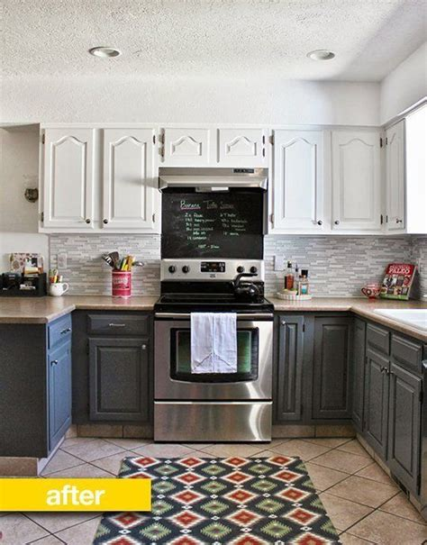 kitchen before after from blah brown to gray and white