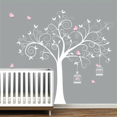 wall decal tree with birdcages birds baby wall decal