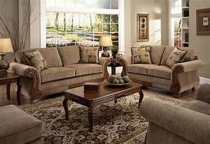 Tan fabric traditional sofa loveseat set w optional items for American home life furniture