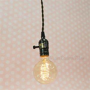 Single pearl black socket pendant light lamp cord kit w