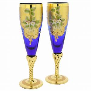 Venetian Style Champagne Flutes - Blue Murano Glass
