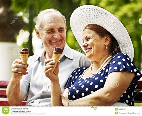 happy old couple with ice cream stock image image 32200107