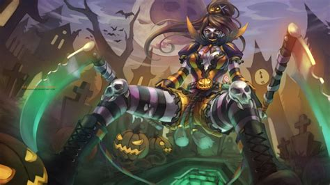 halloween akali league  legends wallpapers art  lol
