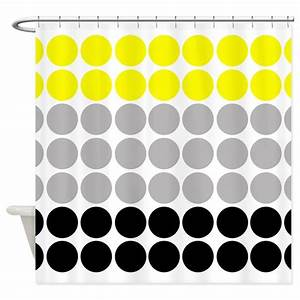 Big Yellow and Black Polka Dots Shower Curtain by ...