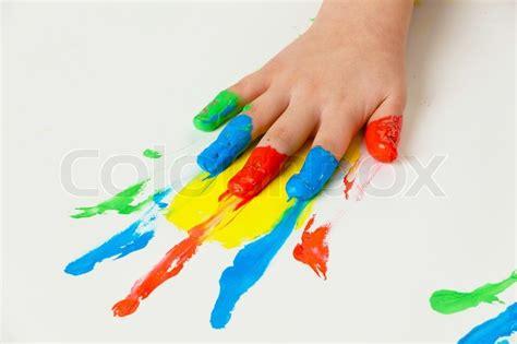 child painting  finger paints stock photo colourbox