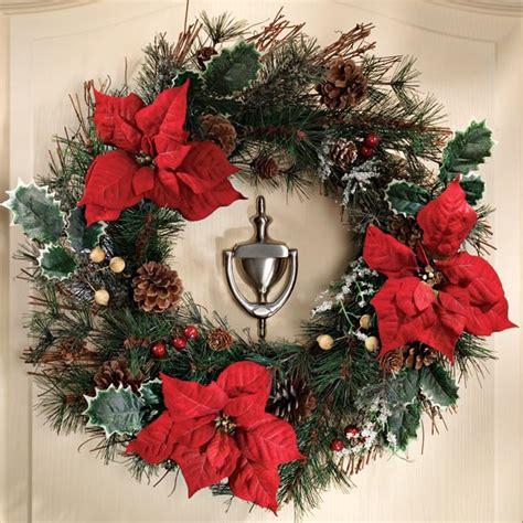 outdoor poinsettia decorations poinsettia wreath outdoor decor christmas mileskimball
