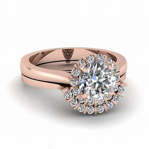 floating floral halo diamond wedding ring set in 14k rose With floral wedding ring set