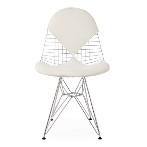 eames inspired chrome dkr wire chair with white