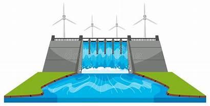 Dam Barrage Diga Verdammung Windmills Streams Clipart