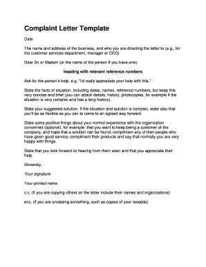 printable formal complaint letter sample