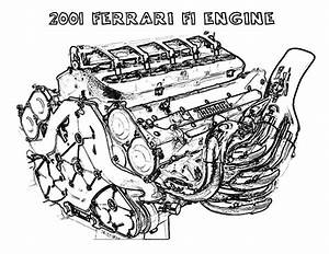 Ferrari Car F1 Engine Parts Coloring Pages   Best Place To Color