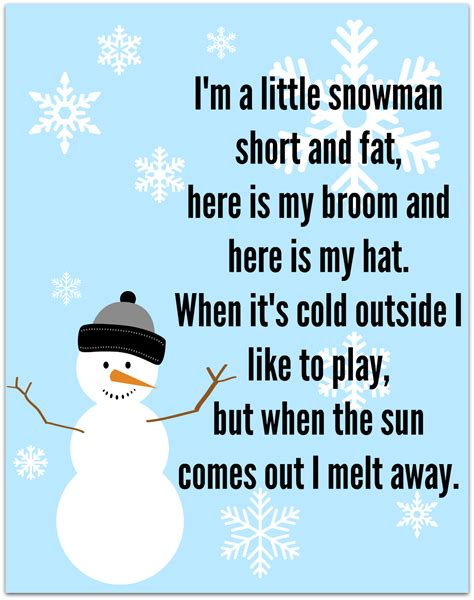 winter songs for preschoolers snowman song free printable no time for flash cards 766