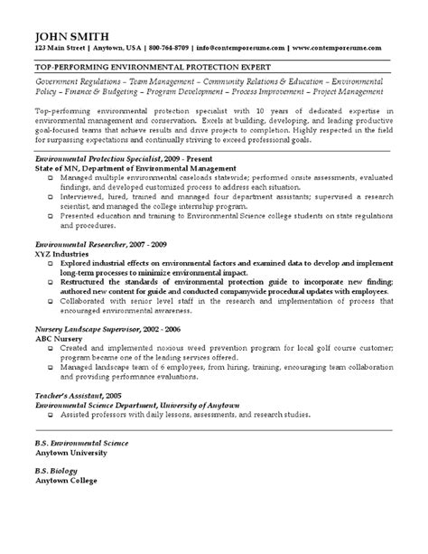 Environmental Specialist Resume by Environmental Protection Expert Resume