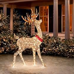 glittering chagne buck reindeer outdoor decorations