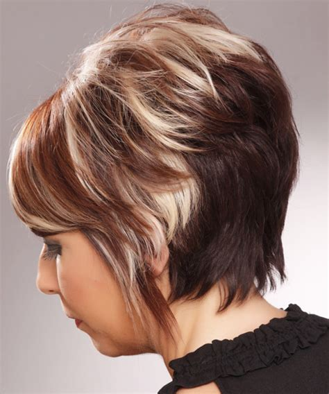 short straight brunette hairstyle  side swept bangs