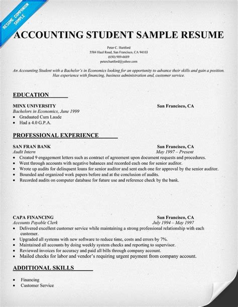 resume for an accountant accountant resume sample sample resumes