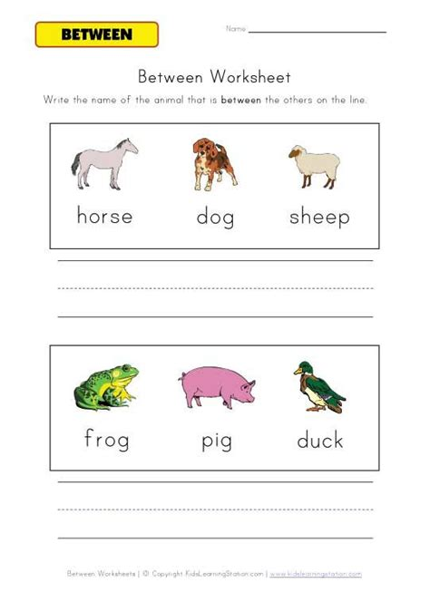 animal between worksheet slp basic concepts
