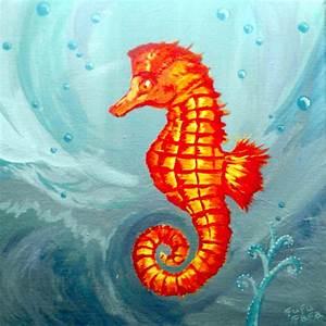 Seahorse Acrylic Painting