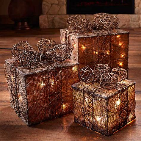 natural burlap and rattan lighted gift boxes so that s cool