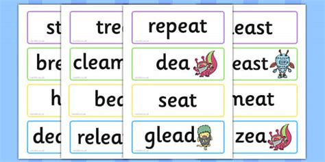 Phase 5 'ea' Flashcards Real And Nonsense Words