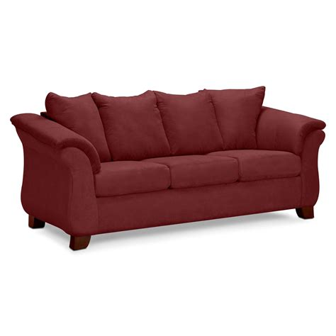 red sofa couch adrian sofa value city furniture