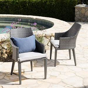 Noble, House, Ansley, Grey, Stationary, Wicker, Outdoor, Dining, Chair, With, Light, Grey, Cushions, 2