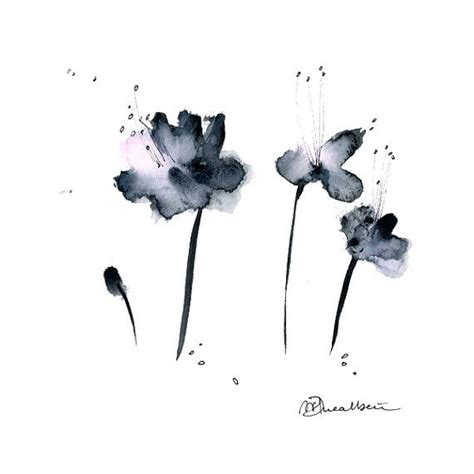 Abstract Black And White Watercolor Painting by Grey Flowers Watercolor Painting Original Abstract