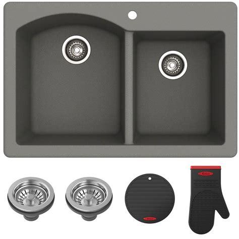grey kitchen sink kraus forteza all in one drop in undermount granite 1503