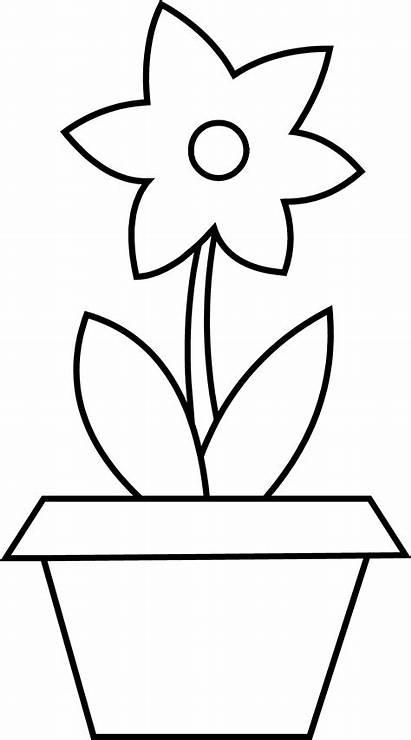 Pot Flower Coloring Clip Line Graphics Sweetclipart