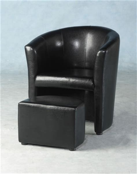 berganza faux leather tub chair with footstool