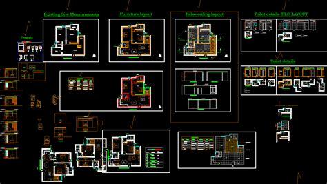 bhk flat dwg layout plan  interior design   bhk