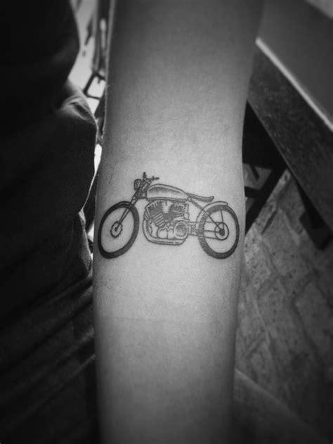 Small simple motorcycle tattoo on forearm | Bucket List